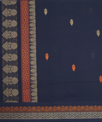 Loom World Blue Handwoven Paramakudi Cotton Saree
