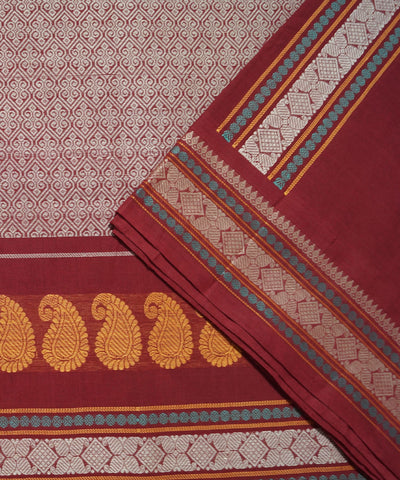 Paramkudi Red Maroon Cotton Handloom Saree