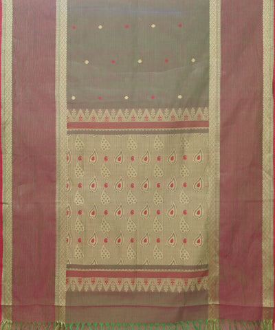 Grey Brown Handloom Paramakudi Cotton Saree