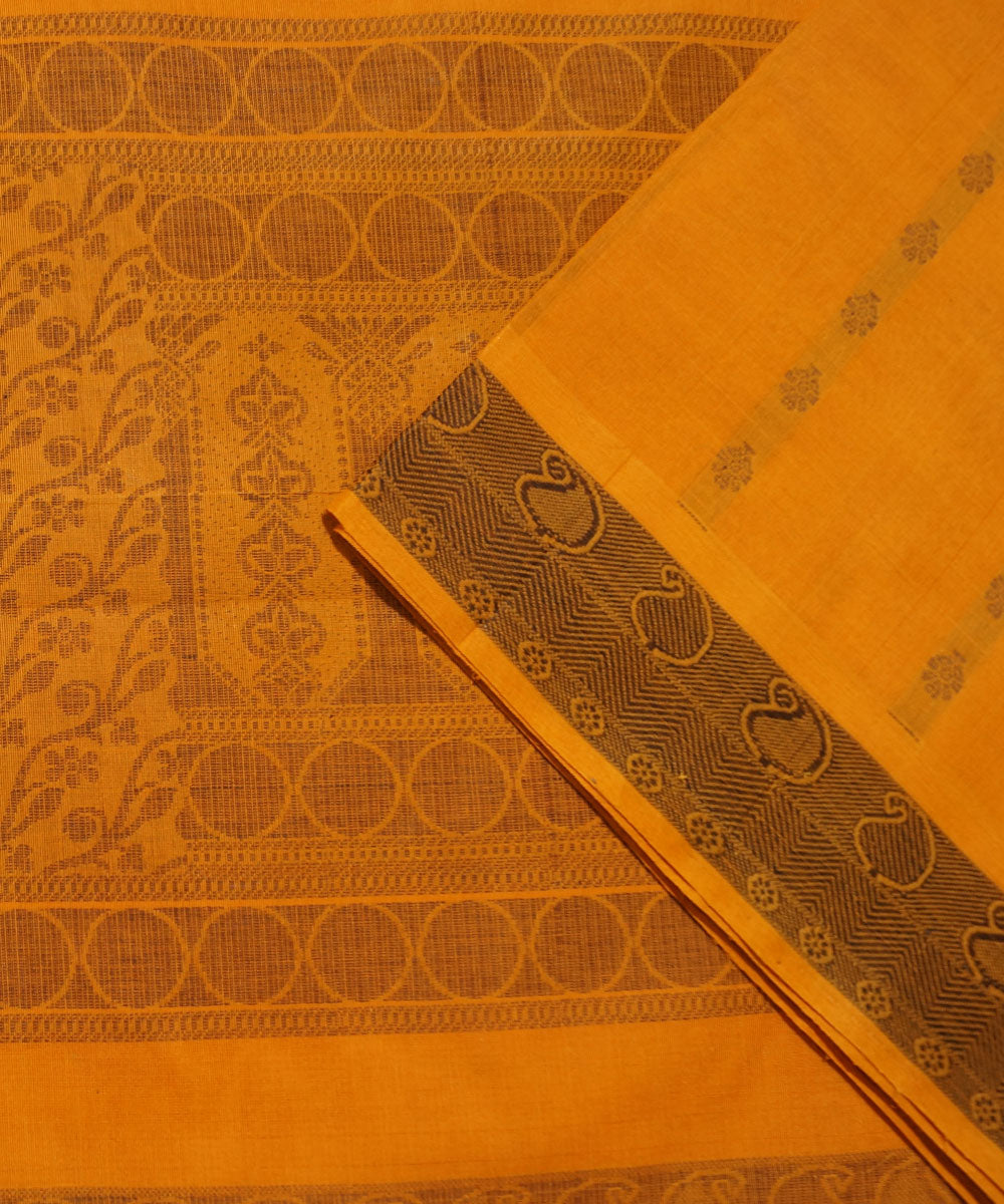 Paramakudi Cotton Handwoven Orange Saree