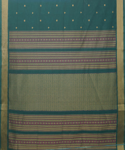 Handloom Paramakudi Dark Green Cotton Saree
