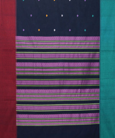 Paramkudi Navy Blue Cotton Handloom Saree