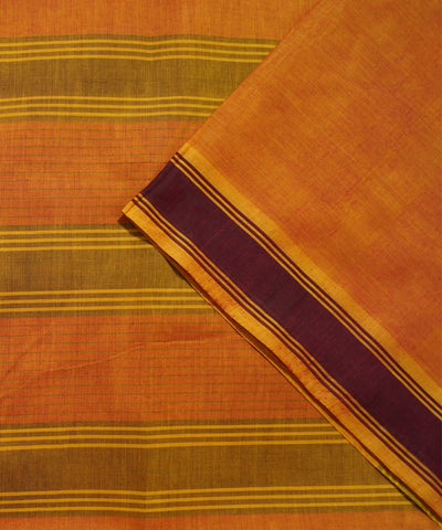 Paramakudi Orange Cotton Handloom Saree