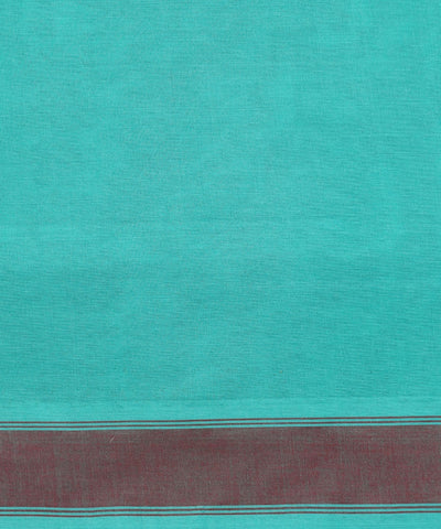 Paramkudi Cyan Blue Cotton Handloom Saree