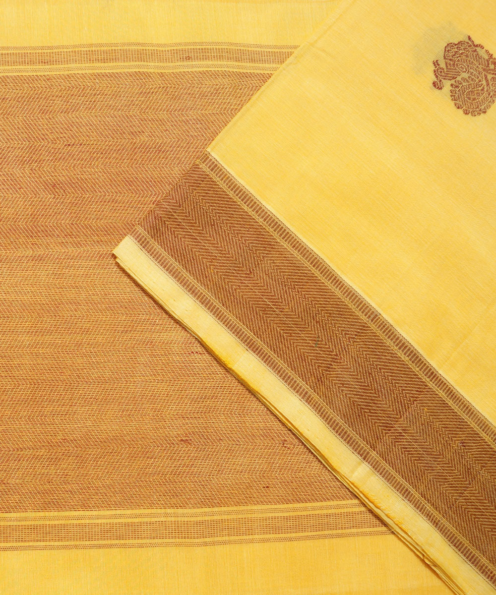 Paramakudi Yellow Orange Handwoven Saree