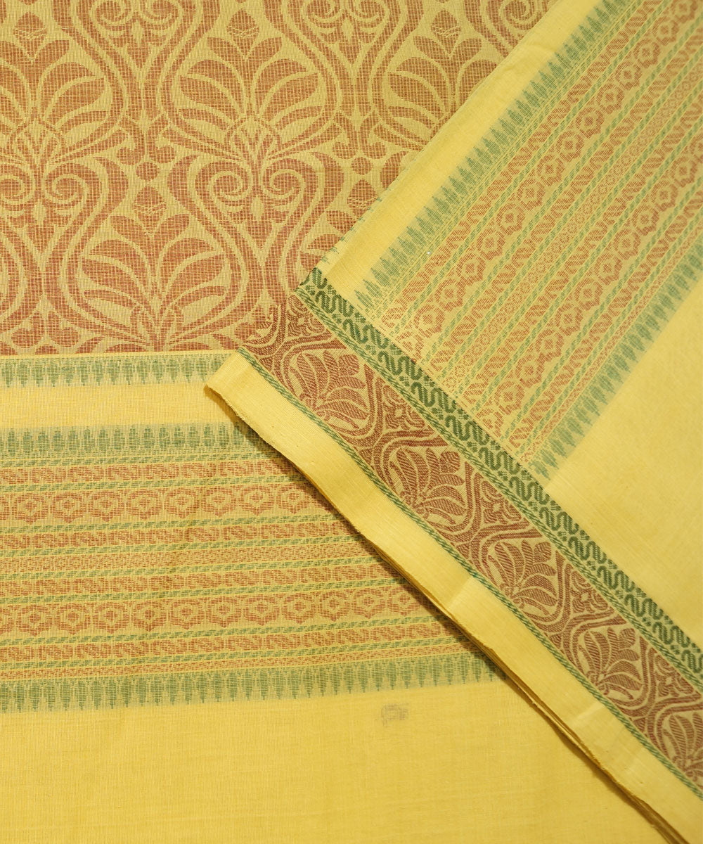 Paramkudi Yellow Cotton Handloom Saree
