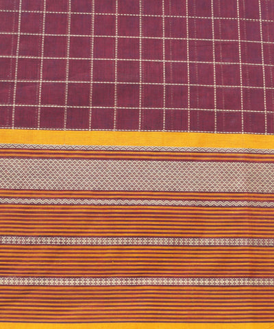 Maroon Checks Handloom Paramkudi Cotton Saree