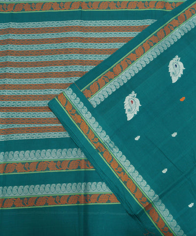 Blue Green Handloom Paramkudi Cotton Saree