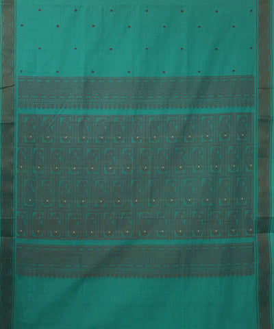 Paramakudi Cyan Green Cotton Handwoven Saree