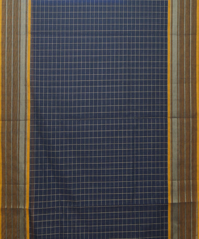 Navy Check Handloom Paramakudi Cotton Saree