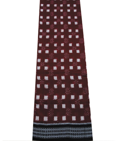 Unique Traditional Maroon And Black Pasapalli Ikat tie And dye Cotton Saree