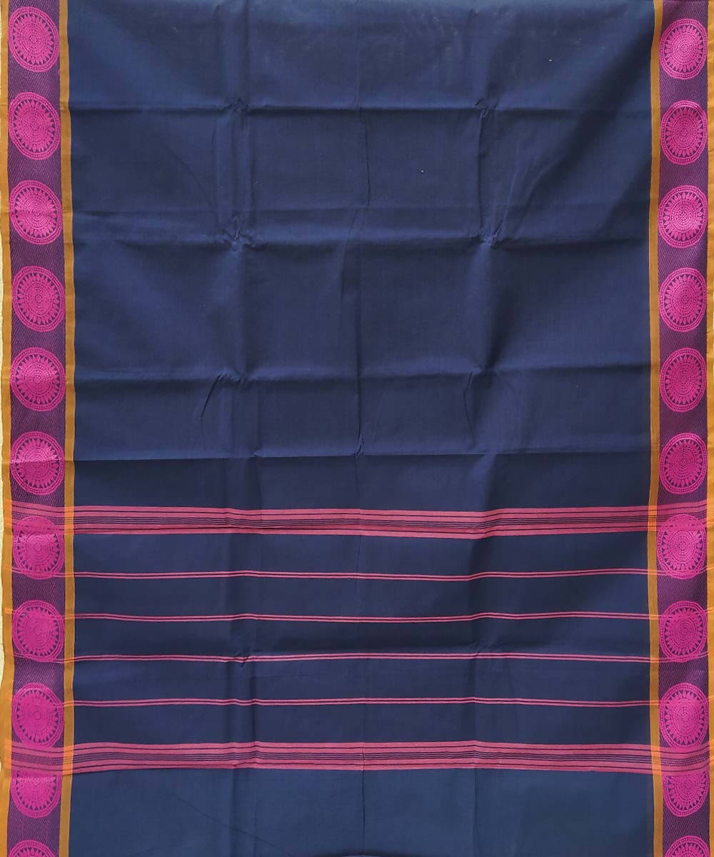 Navy blue tamil nadu handwoven cotton saree