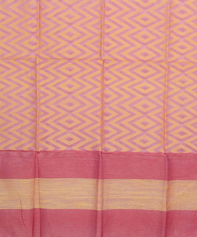 Matka Silk Pink and Yellow Handwoven Dupatta