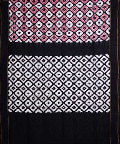 White Black Handloom Telia Rumal Cotton Saree