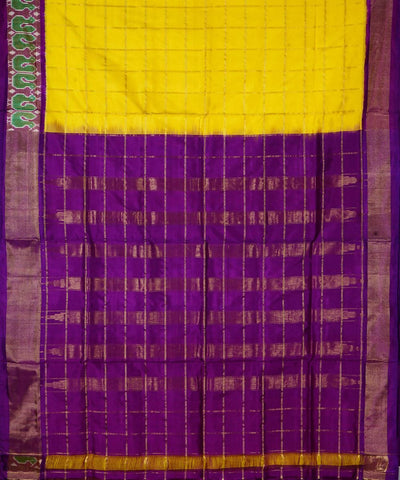 Dark Yellow Checks Handloom Ikkat Silk Saree