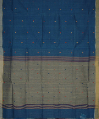 Indigo Blue Natural Dyed Handloom Cotton Jamdani Saree