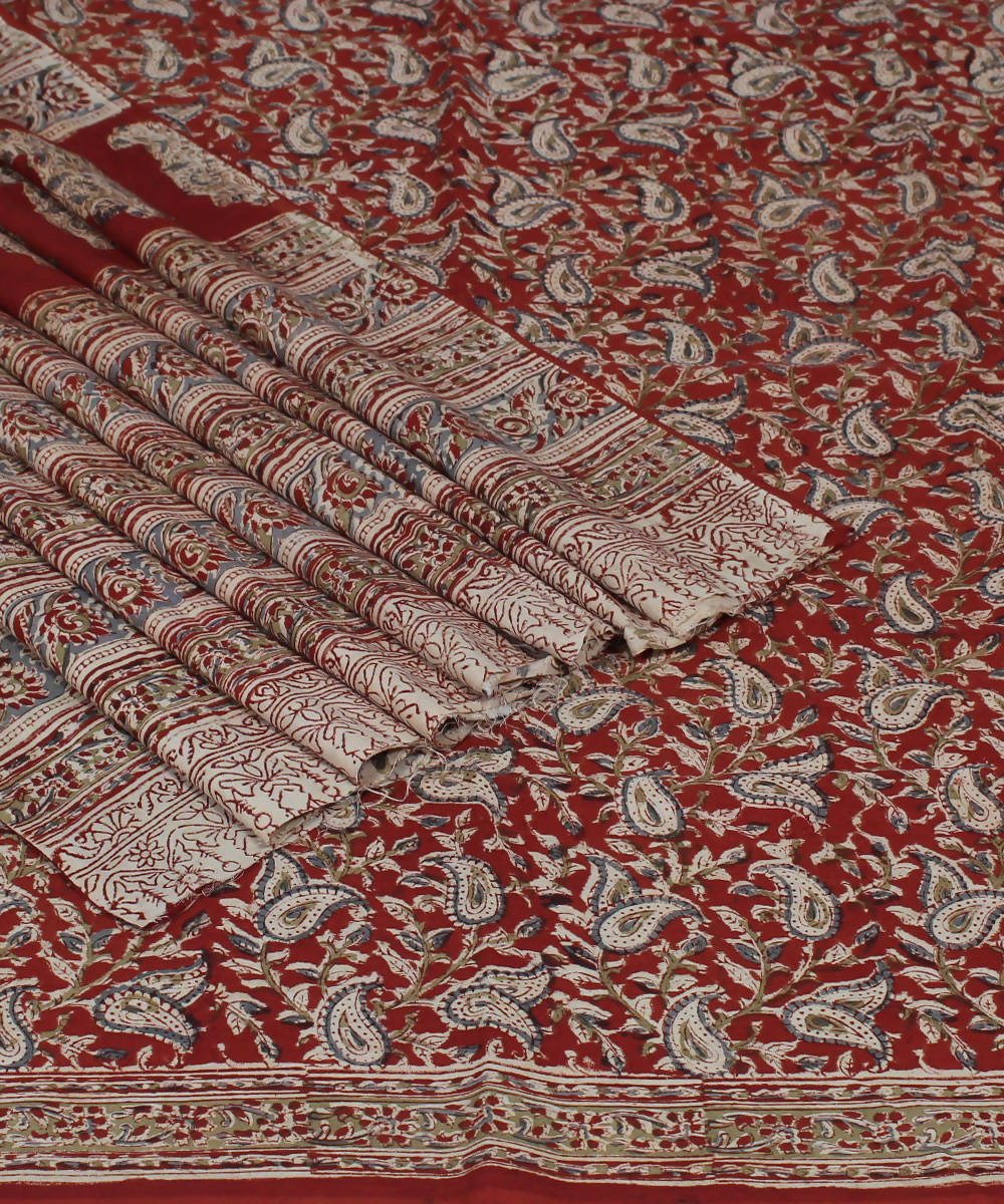 Handloom Cream Red Printed Kalamkari Saree