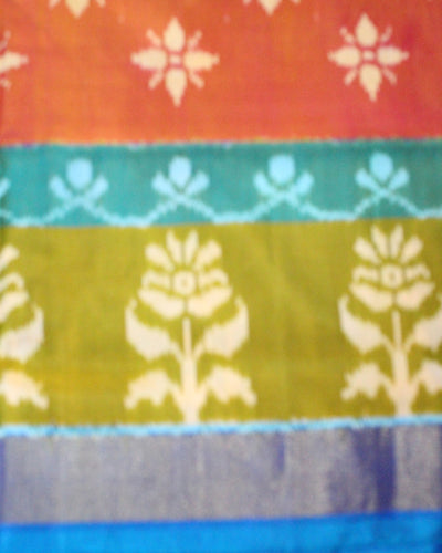 Mutli Color Handwoven Ikat Silk Saree