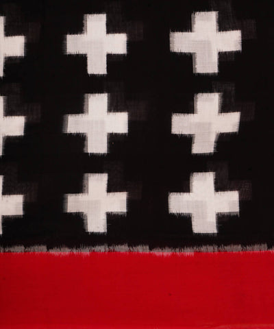 Black red handloom cotton pochampally saree