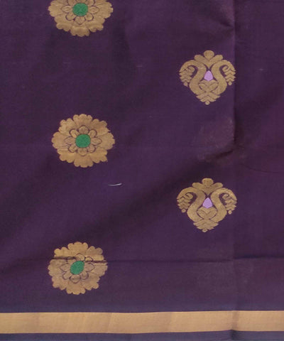 Violet Handwoven Cotton Jacquard Saree