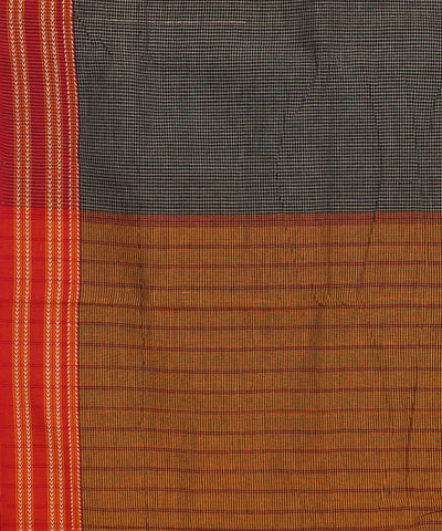 Grey Checks Gomi Teni Handwoven Cotton Saree