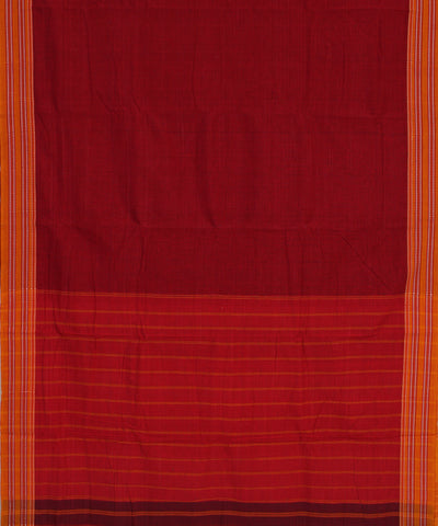 Handwoven Red Checks Gomi Teni Cotton Saree