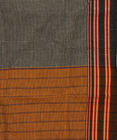 Black Checks Gomi Teni Handwoven Cotton Saree