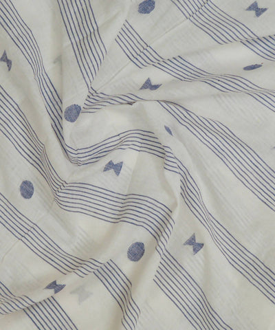 Blue and white handspun handwoven mul cotton jamdani fabric