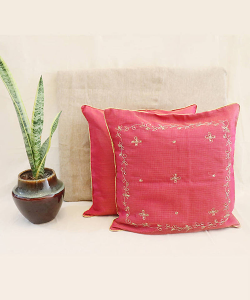 Pink red hand embroidered kota festive cushion cover