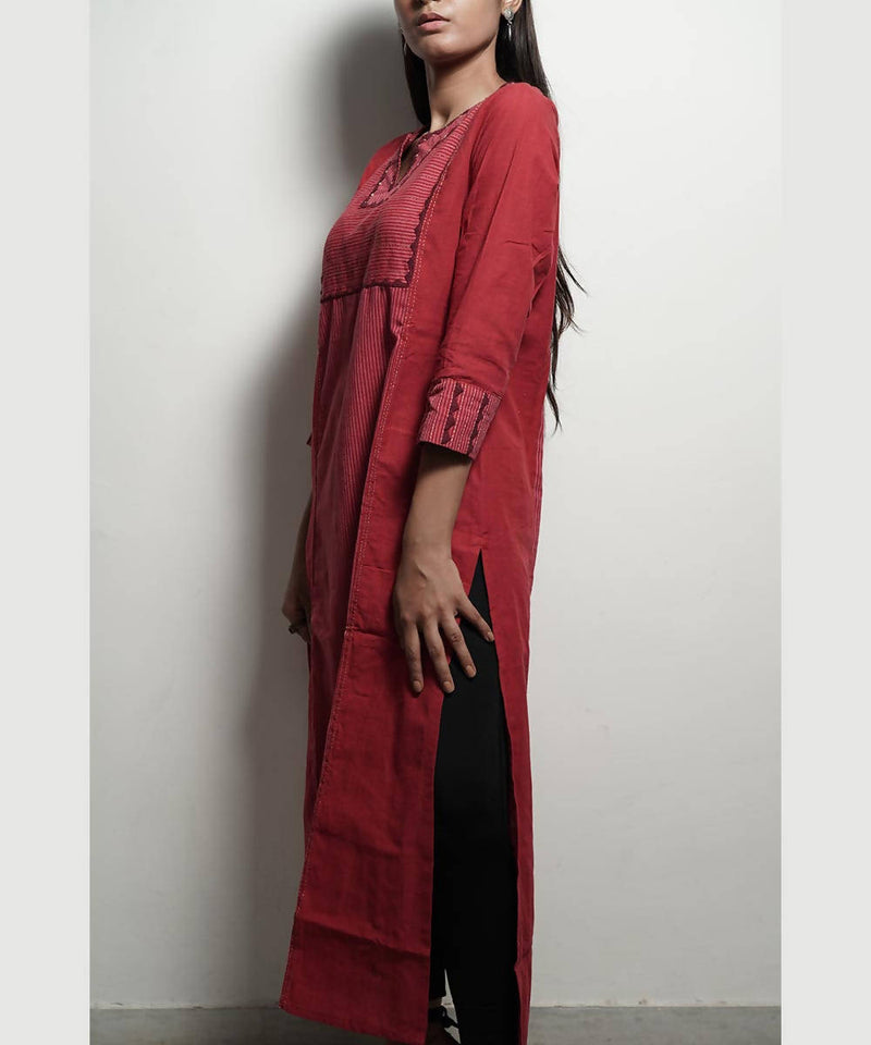 Reddish applique tanka work long cotton kurta