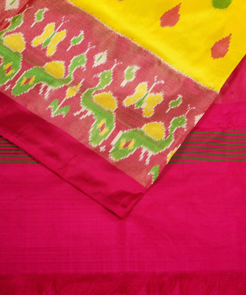 Yellow Pink Handloom Pochampally Silk Saree
