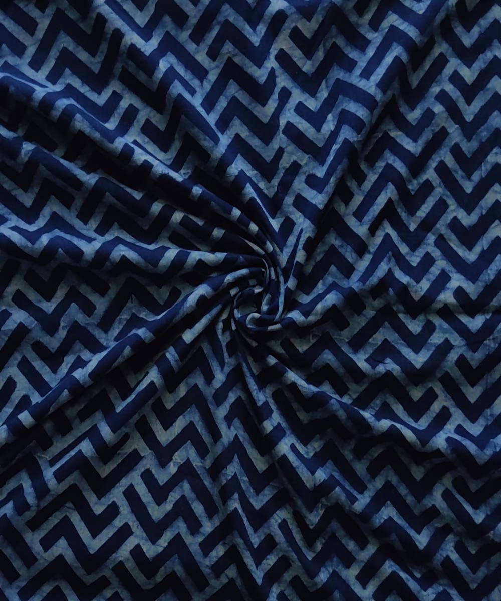 Natural dye dabu block printed organic handspun cotton navy fabric
