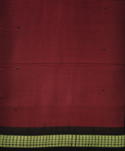 Bomakai Maroon and Black Cotton Saree