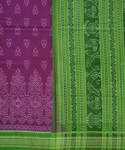 Bargarh Dark Pink with Green Border Cotton Saree