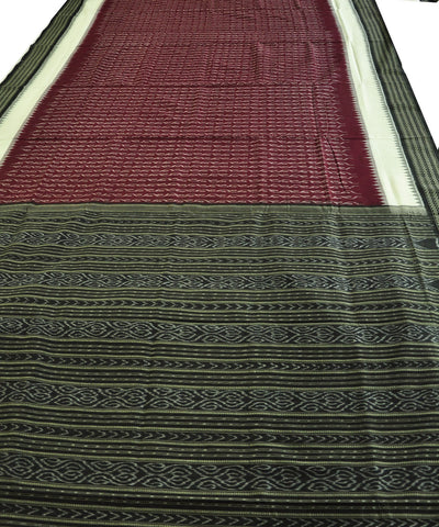 Bargarh Maroon and White Cotton Saree
