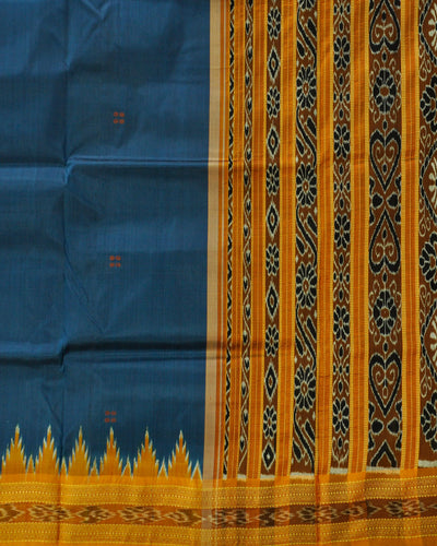 Nuapatna Yellow and Blue Silk Saree