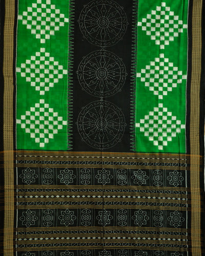 Bargarh Green and Black Cotton saree