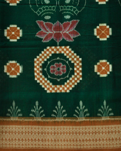 Bargarh Deep Green Cotton saree