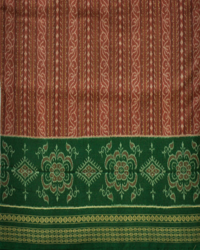 Bargarh Brown and Green Cotton saree