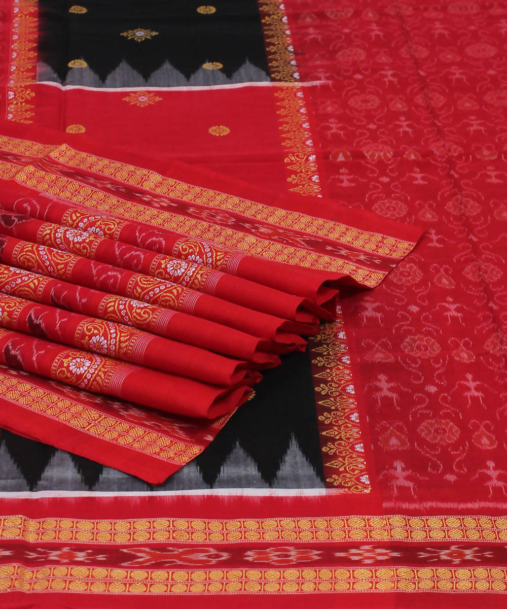Black Red Handloom Bomkai Cotton Saree