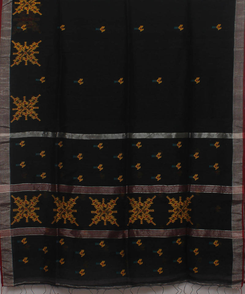Bengal Handwoven Linen Black Saree