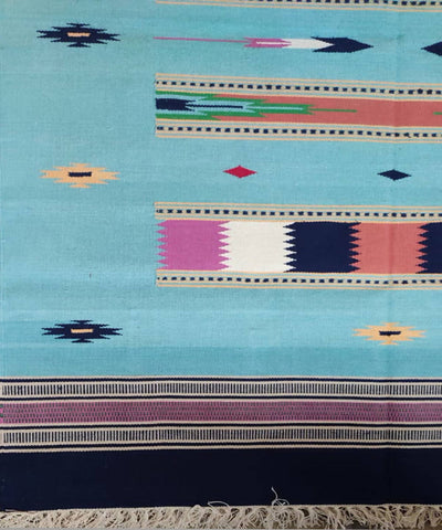 Handloom Light Sky Blue Interlock Cotton Dhurrie