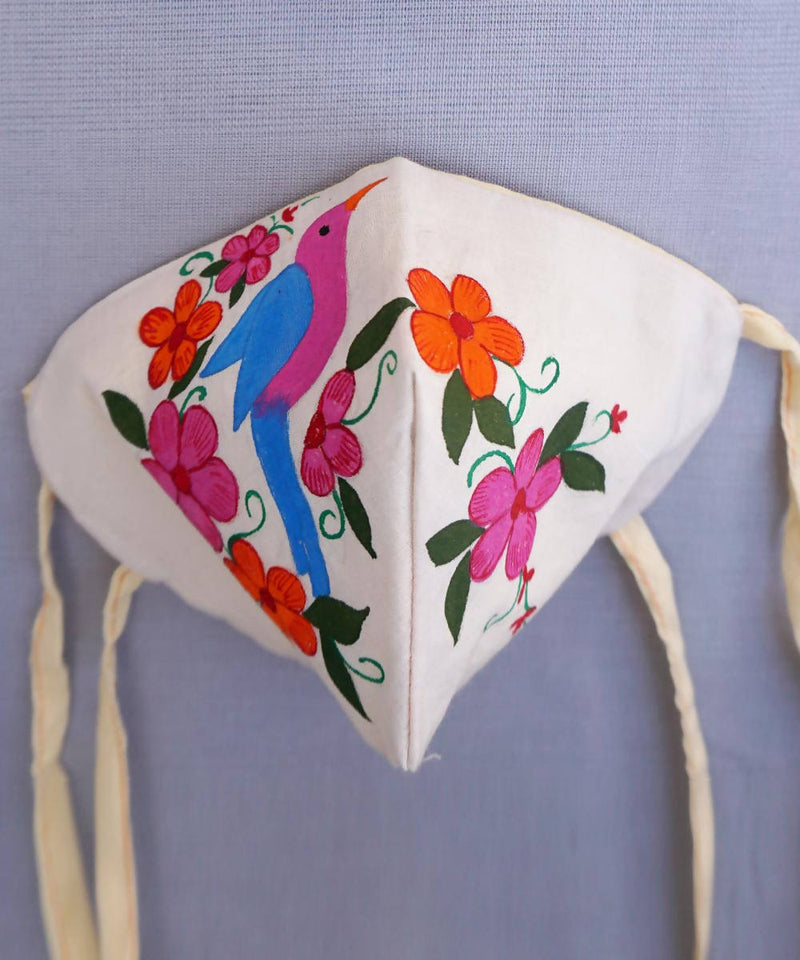 Hand Painted Floral Three Layered Handwoven Cotton Mask 6, 10, 20 nos