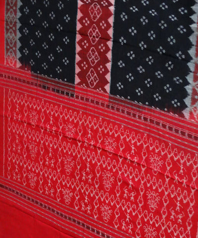 Sambalpuri Black Red Handloom Cotton Dupatta