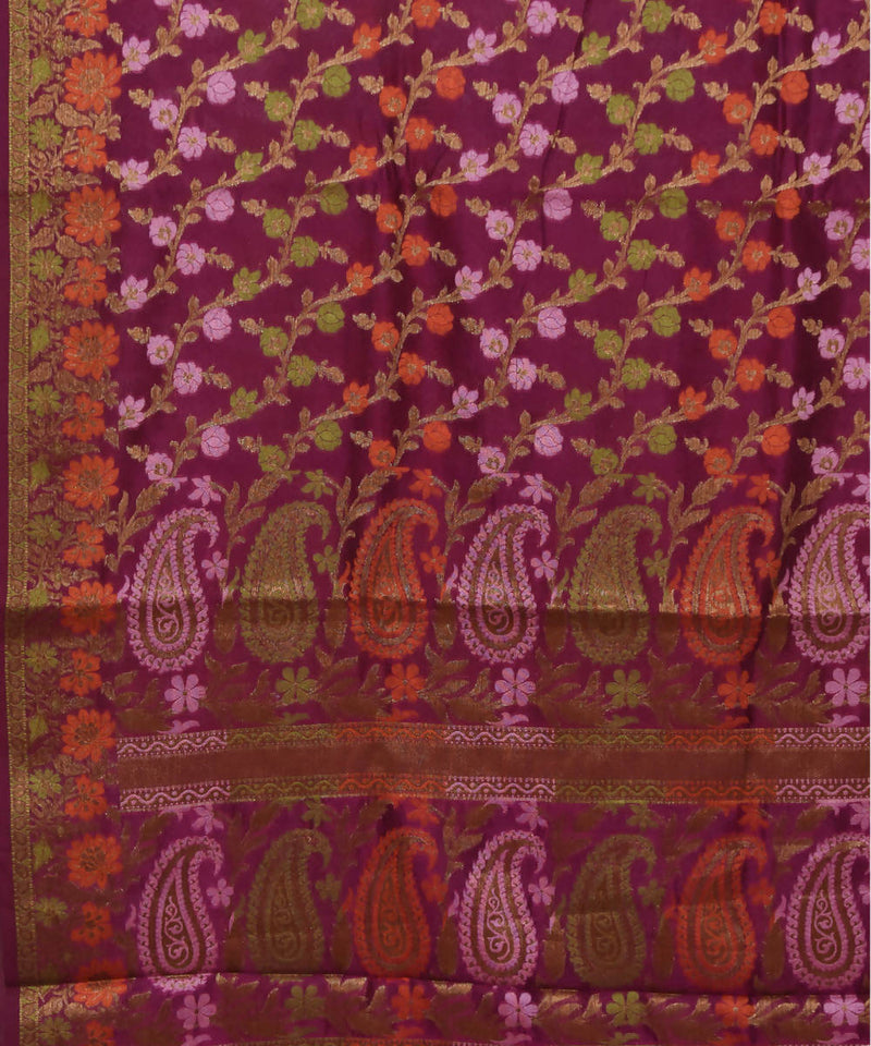 Banarasi Wine Purple Handwoven Silk Saree