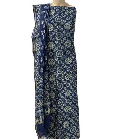 Blue ajrakh handblock print chanderi cotton top and dupatta suit set
