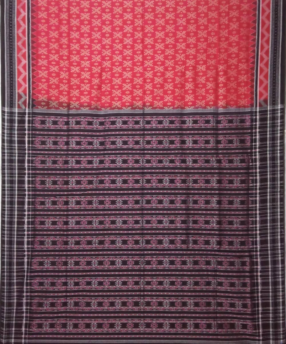 Red black Sambalpuri Handloom Cotton Ikat Saree