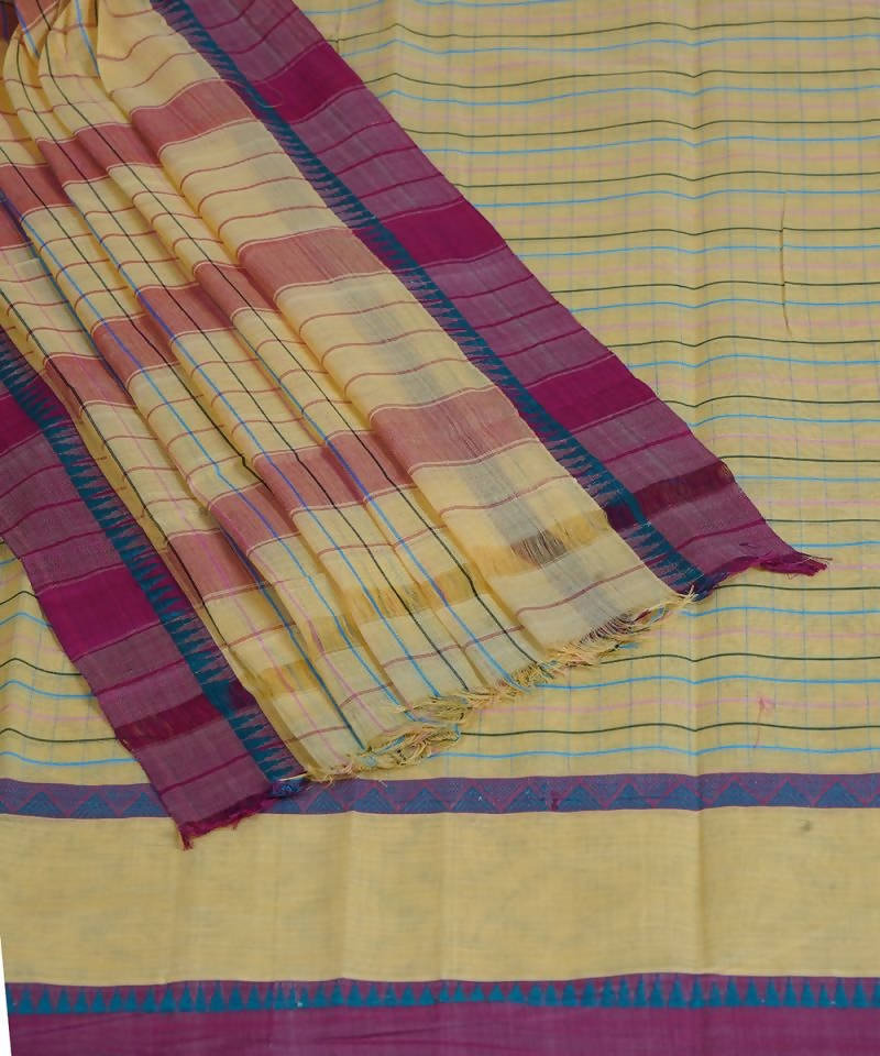 Handloom Cream Narayanpet Cotton Saree