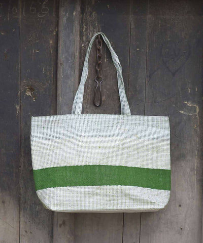 Green and white taat wool Hand Embroidered Shopper Bag