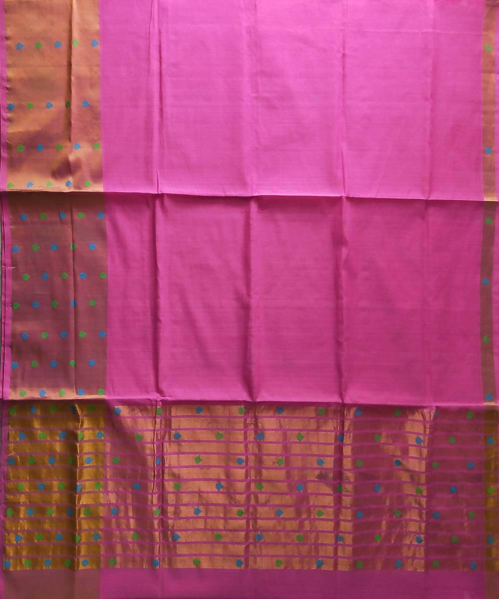 Venkatagiri handwoven cotton pink with golden border saree